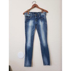 Express Faded Distressed Skinny Jeans Medium Wash
